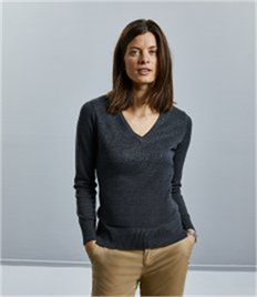 Russell Collection Ladies Cotton Acrylic V Neck Sweater