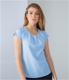 Henbury Ladies Pleat Front Short Sleeve Blouse